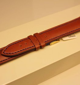 Handmade watch band ECO calfskin cognac with blue stitchings 20/18mm