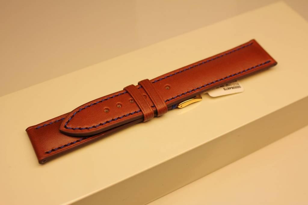 Handgemaakte horlogeband ECO kalfsleder cognac met blauw stiksel 20/18mm