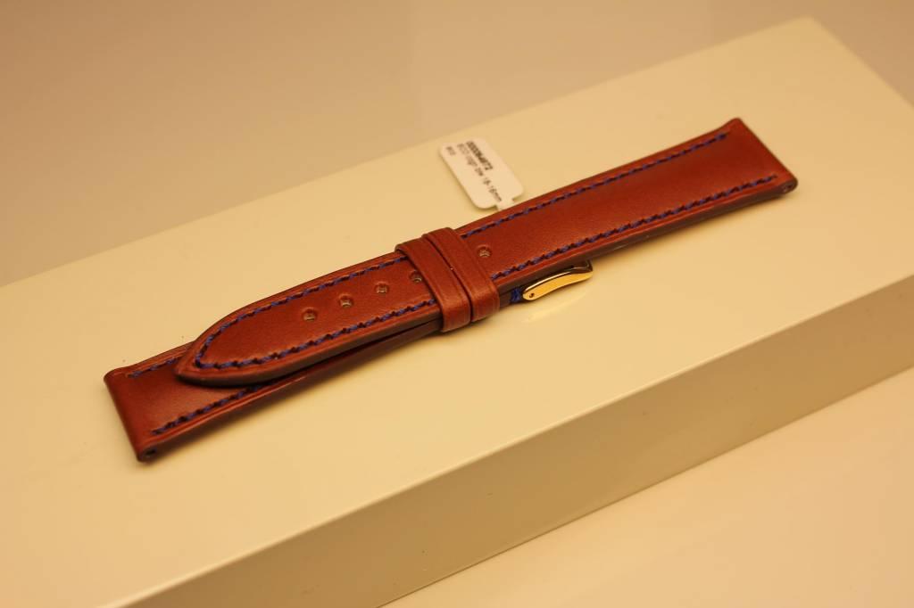 Handgemaakte horlogeband ECO kalfsleder cognac met blauw stiksel 18/16mm