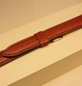 Handmade watch band ECO calfskin cognac with blue stitchings 18/16mm steel