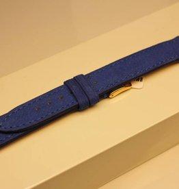 Handgemaakte horlogeband zacht buffelleder blauw 18/16mm