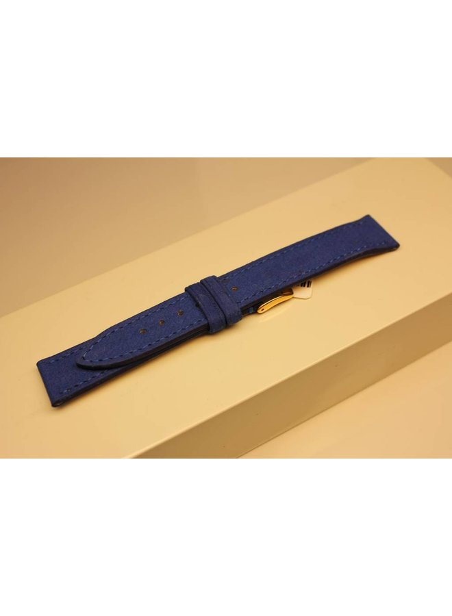Handmade watch band made from soft buffalo leather blue 18/16mm