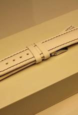 Handmade watch band ECO calfskin white with purple stitchings 18/16mm