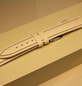 Handgemaakte horlogeband ECO kalfsleder wit met aubergine stiksel 18/16mm