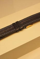Handgemaakte horlogeband paling grijsblauw lichtblauw stiksel 18/16mm