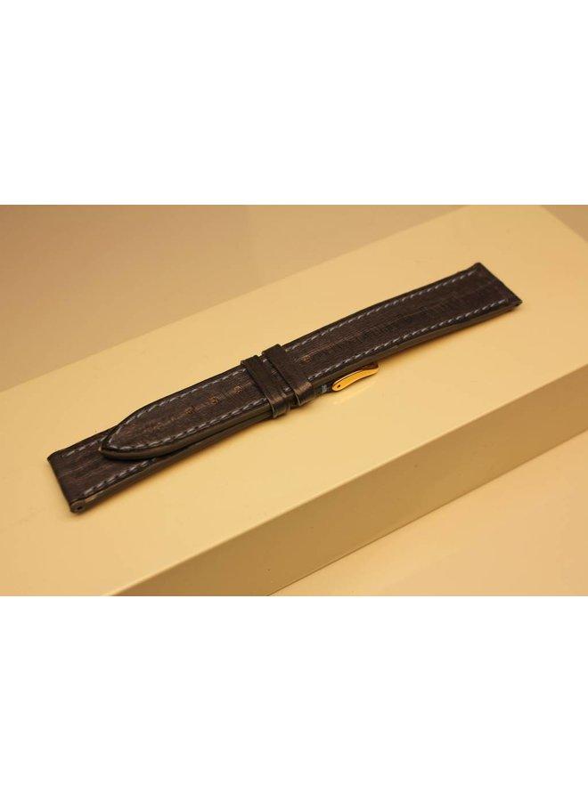 Handmade watch band eel leather greyblue lightblue stitchings 18/16mm
