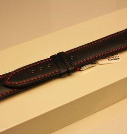 Handgemaakte horlogeband ECO kalfsleder zwart met rood stiksel 20/18mm