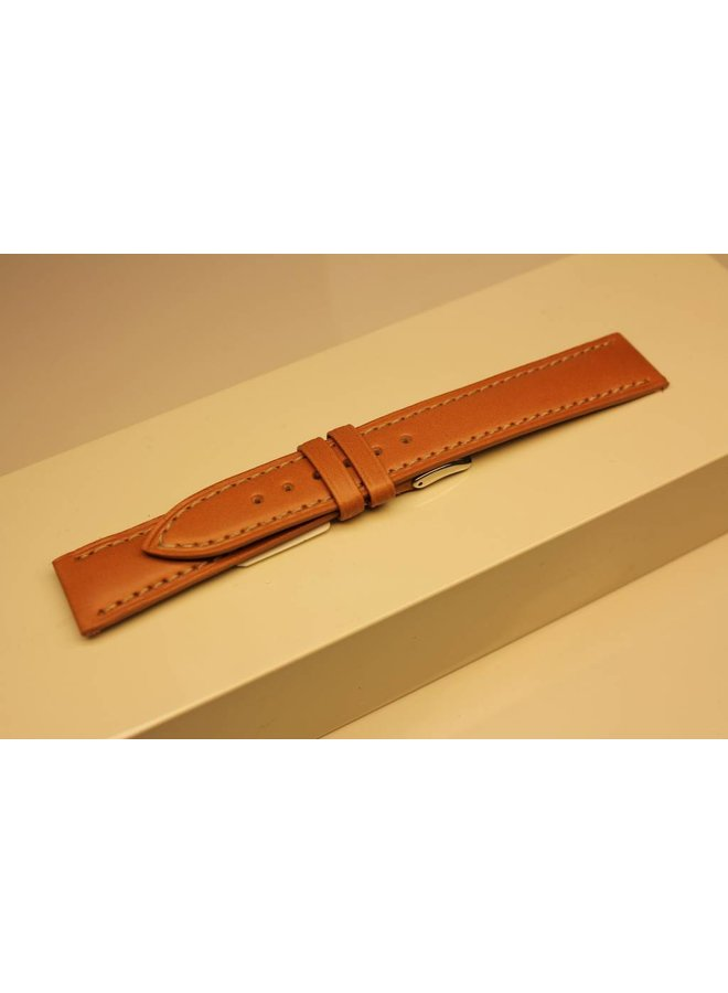 Handgemaakte horlogeband ECO kalfsleder lichtbruin 18/16mm