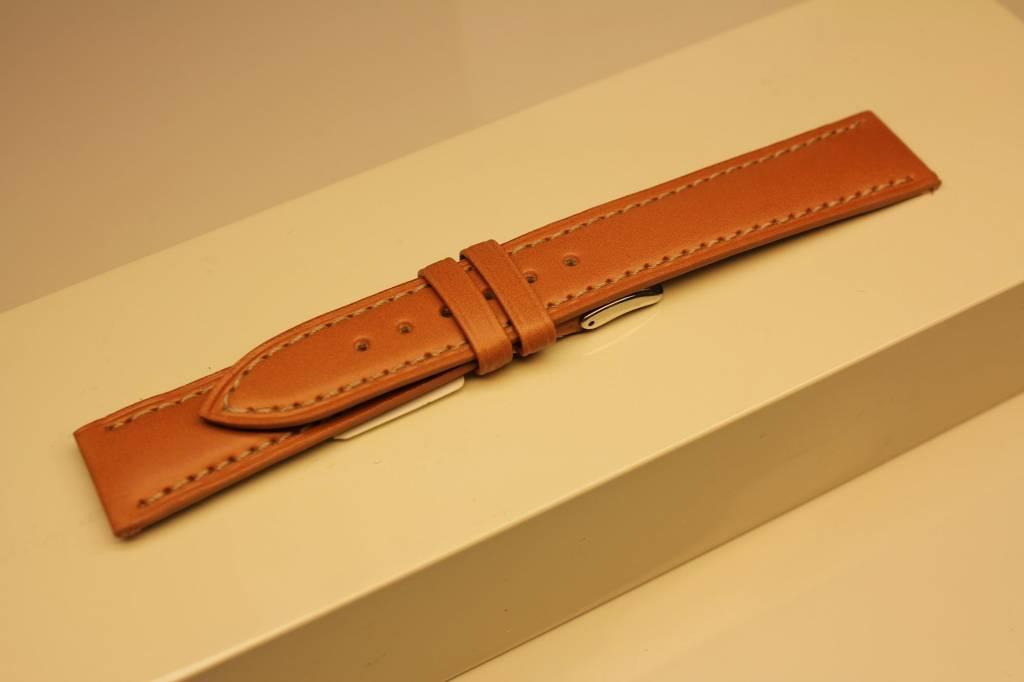 Handmade watch band ECO calfskin light brown with cream white stitchings 18/16mm