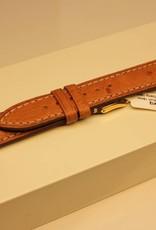 Handgemaakte horlogeband struisvogelleer lichtbruin creme wit stiksel 18/16mm