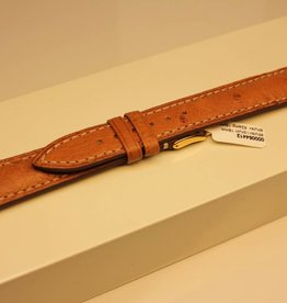 Handmade watch band ostrich leather light brown with cream white stitchings 18/16mm