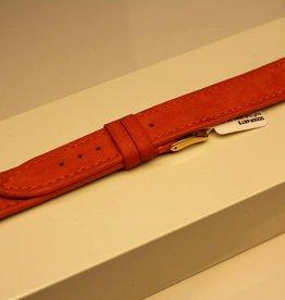 Handgemaakte horlogeband zacht buffelleder oranje 18/16mm