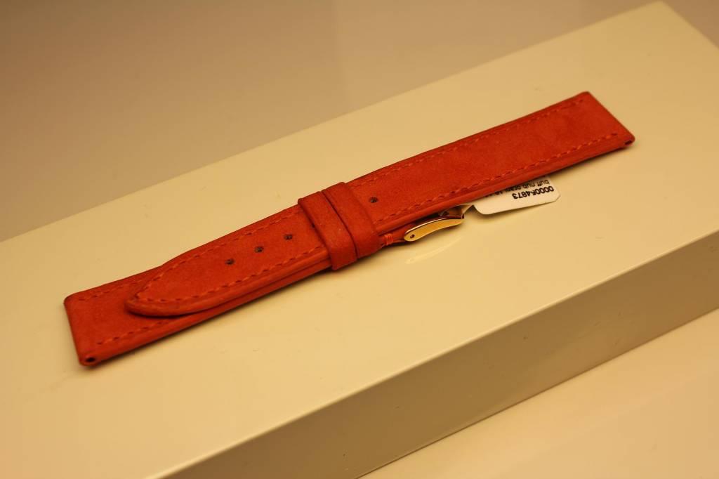 Handmade watch band made from soft buffalo leather orange 18/16mm
