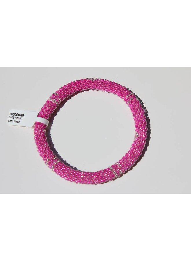Loffs Nepal Bracelet pink & silver white spots
