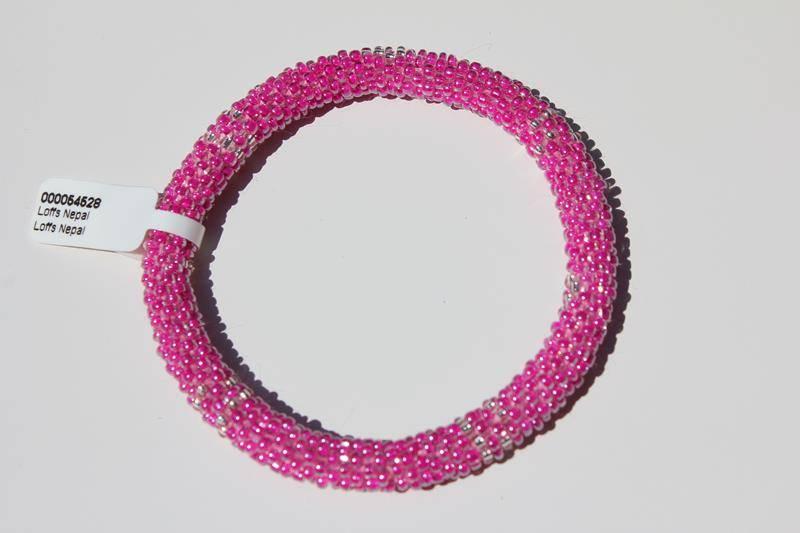 Loffs Loffs Nepal Bracelet pink & silver white spots