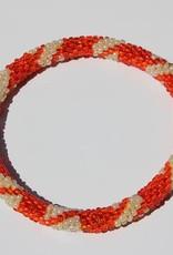 Loffs Loffs Nepal Bracelet dark orange & pearl white