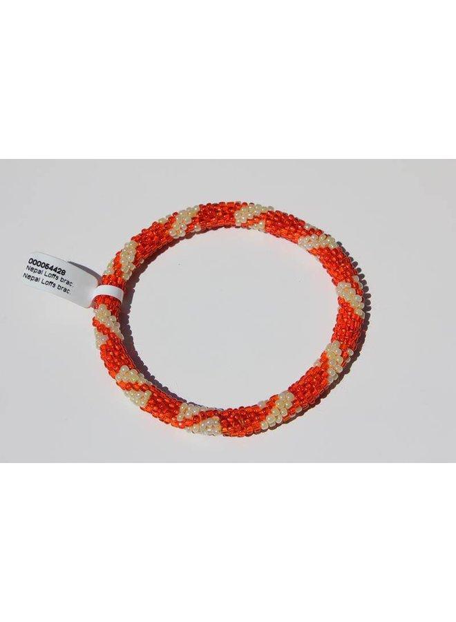 Loffs Nepal Bracelet dark orange & pearl white