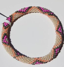 Loffs Loffs Nepal Bracelet white, pink, green serpent pattern