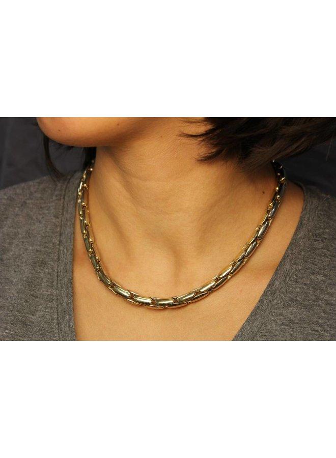 14 carat gold bicolor fantasy necklace 7,5mm