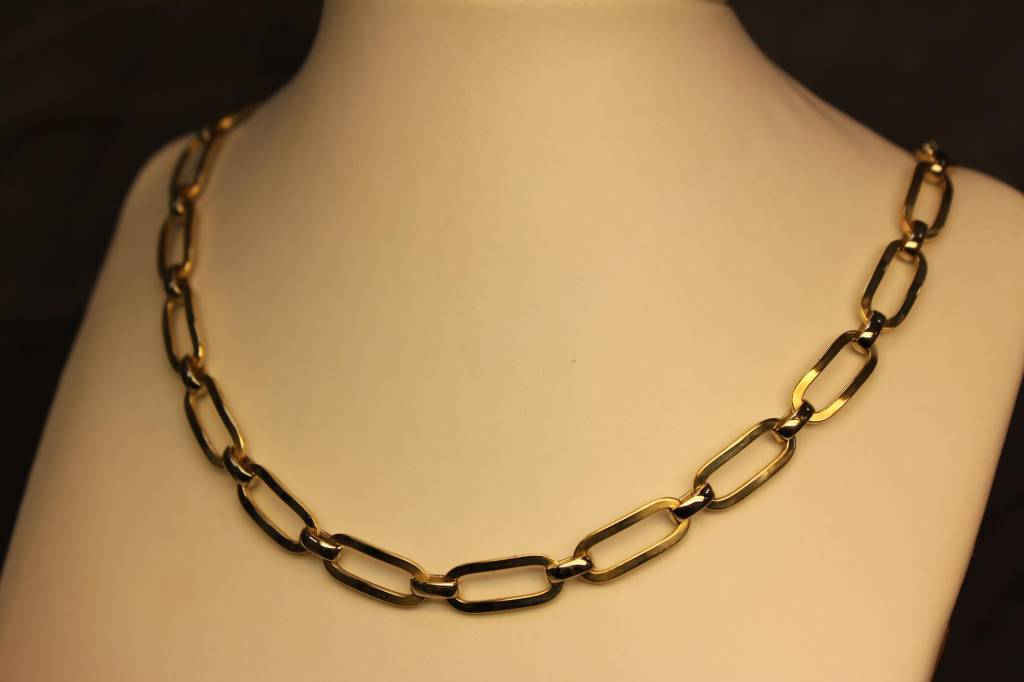 14 carat gold bicolor fantasy link necklace