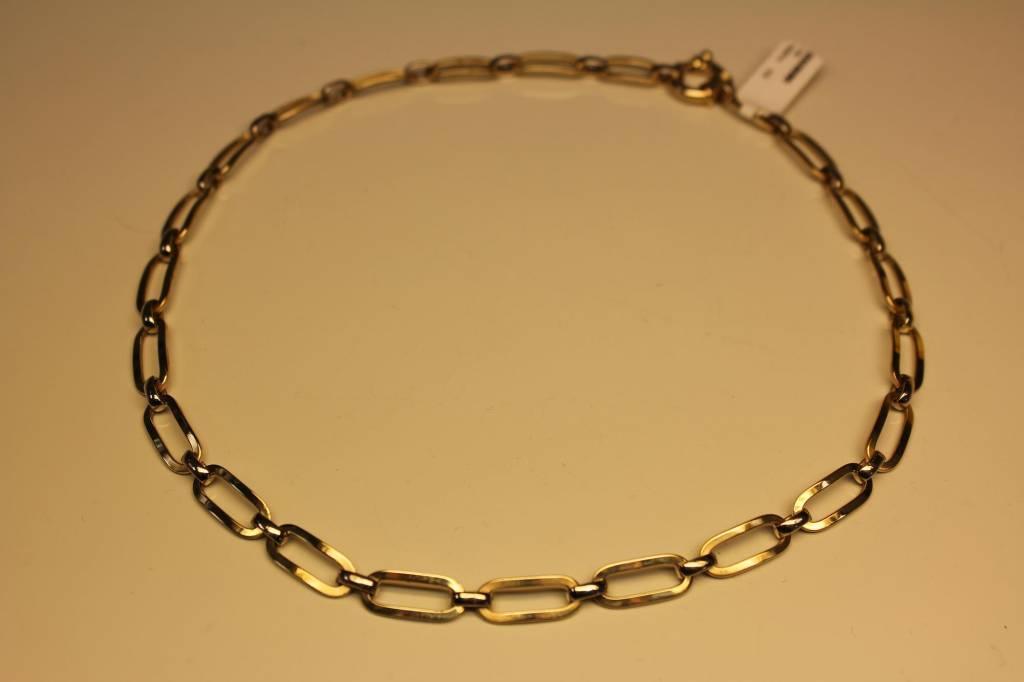 14k gouden bicolor fantasie schakel collier
