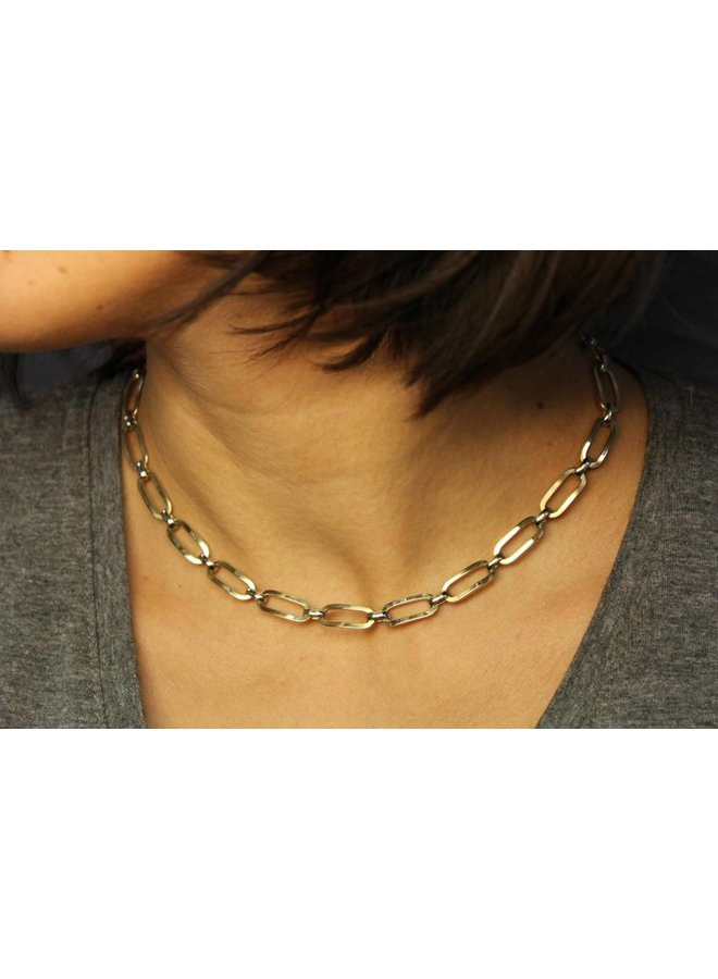 14 carat gold bicolor fantasy link necklace