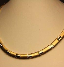 14k gouden bicolor collier platte fantasie schakel