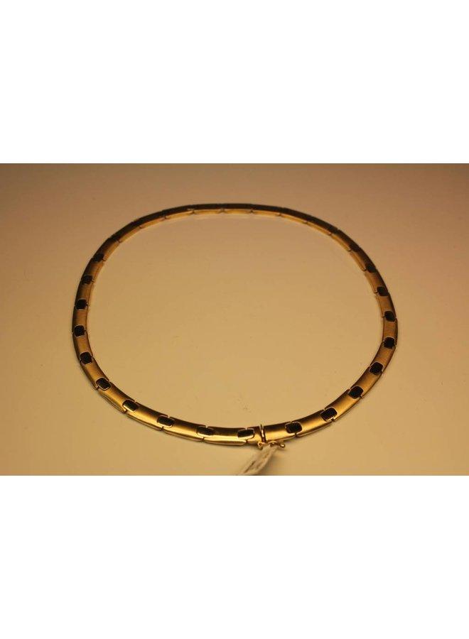 14 carat gold bicolor flat necklace