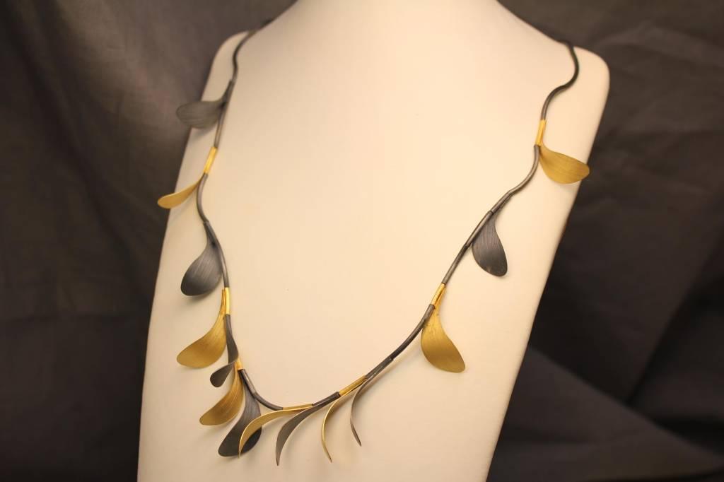Zilveren collier handgemaakt bicolor