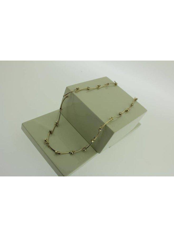 14 carat gold bicolor design necklace