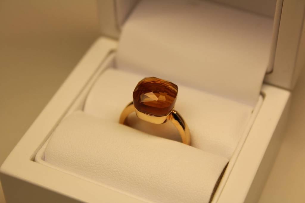 18k rosé gouden design ring facet geslepen oranje steen