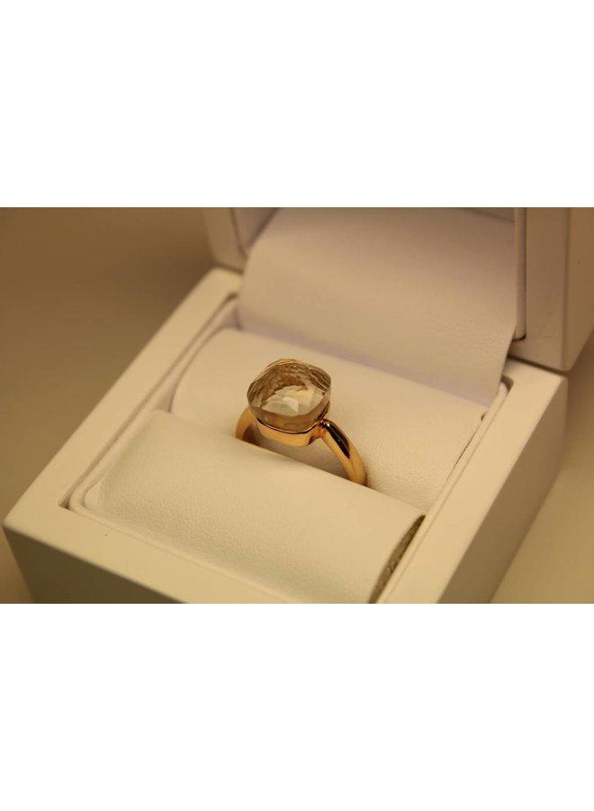 18k gouden design ring facet geslepen witte steen