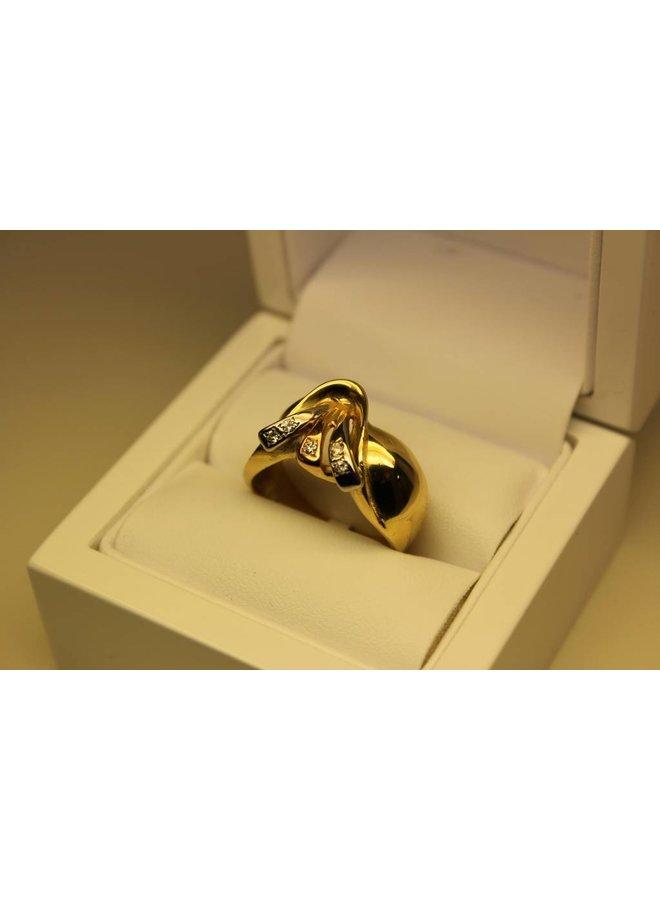 Vintage 18k gouden ring tricolor 0.10ct briljant