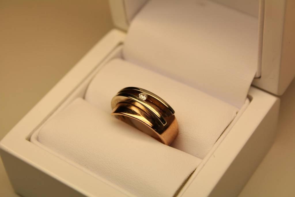 Vintage 14k gouden bicolor ring 0.10ct briljant