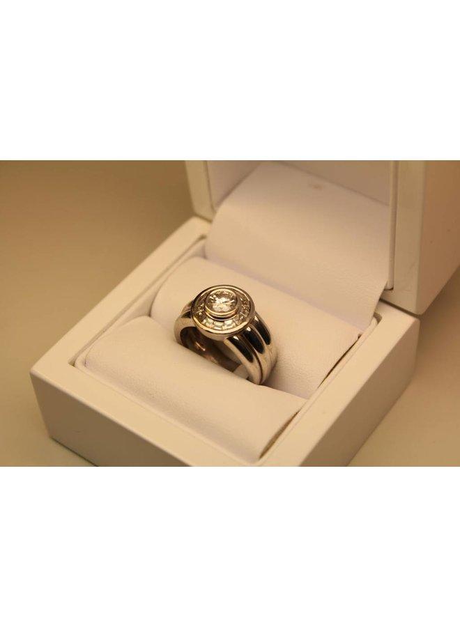 Vintage 18k witgouden ring 1.40ct diamant
