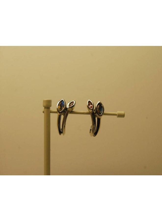 Rabinovich 53205013 ear studs with labradorite and tourmaline