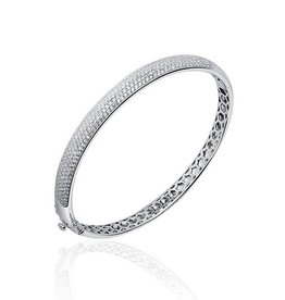 Silver bangle, rhodium coated set with zirconia's 7mm