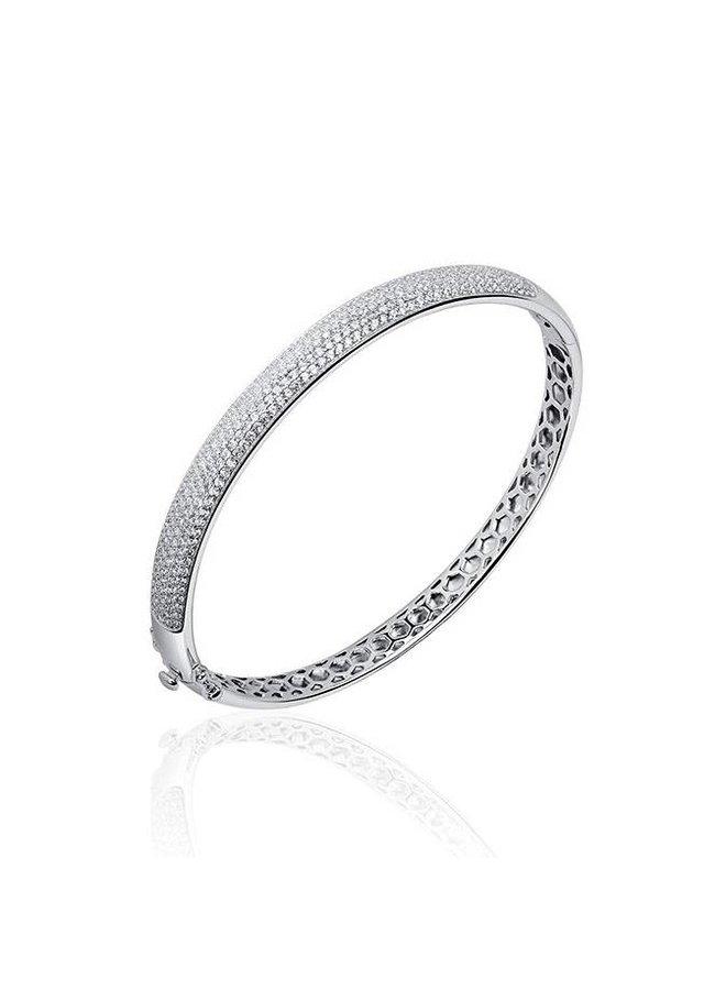 Zilveren Slavenband 7mm witte zirconia