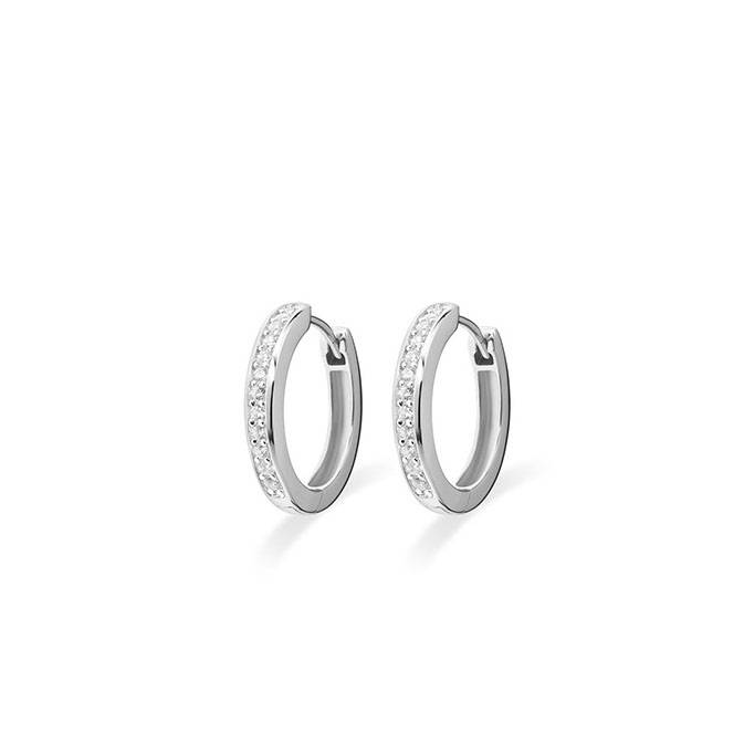 Silver creole earrings with zirconia KCD 3/20mm