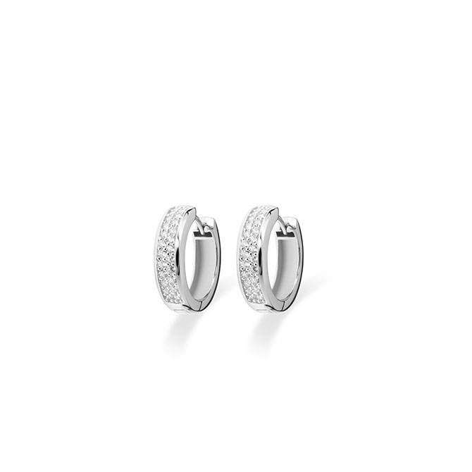 Silver creole earrings with zirconia KCD 5/20mm