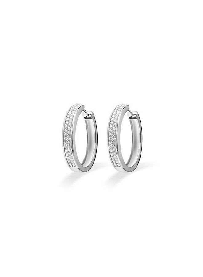 Silver creole earrings with zirconia KCD 5/30mm