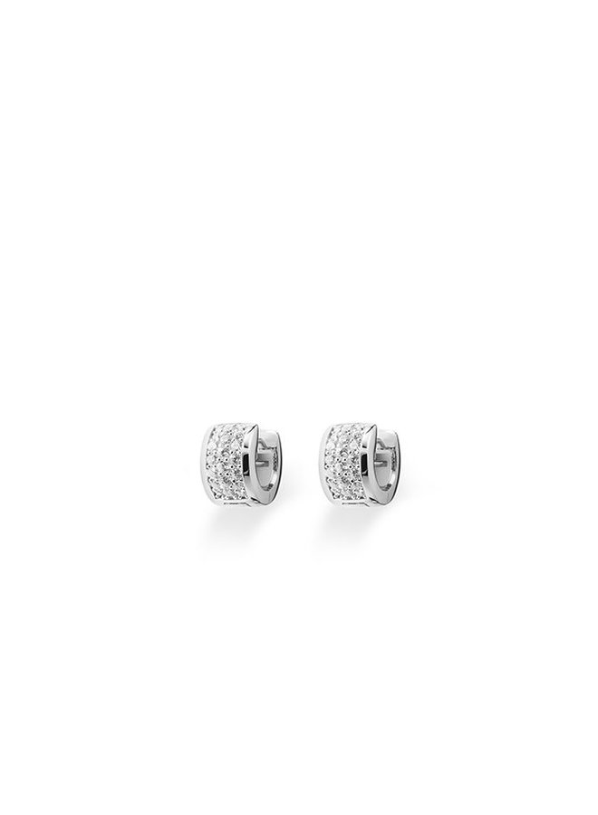 Silver creole earrings with zirconia KCD 7/12mm