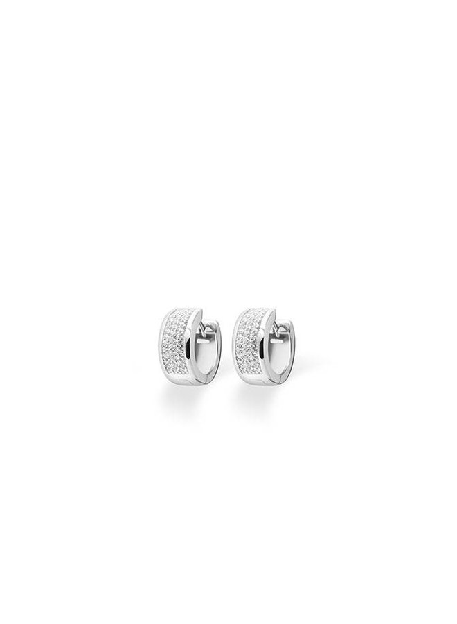 Silver creole earrings with zirconia KCD 7/15mm