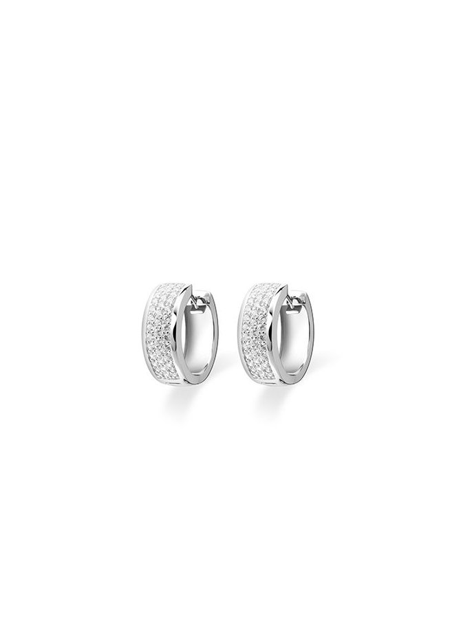 Silver creole earrings with zirconia KCD 7/20mm
