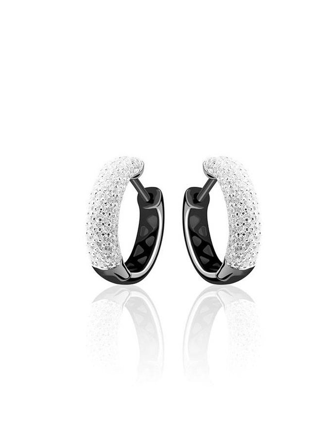 Silver creole earrings black rhodium with zirconia's