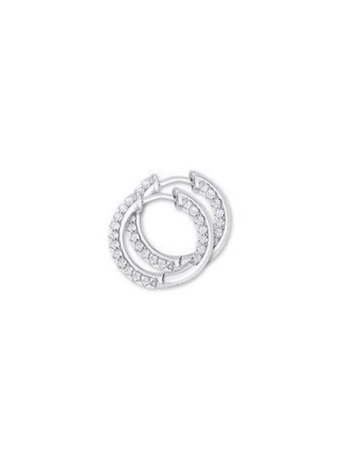 Zilveren Klapcreolen zirconia binnen en buiten 22,5mm