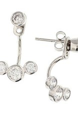 Silver earrings with zirconia's against and under ear