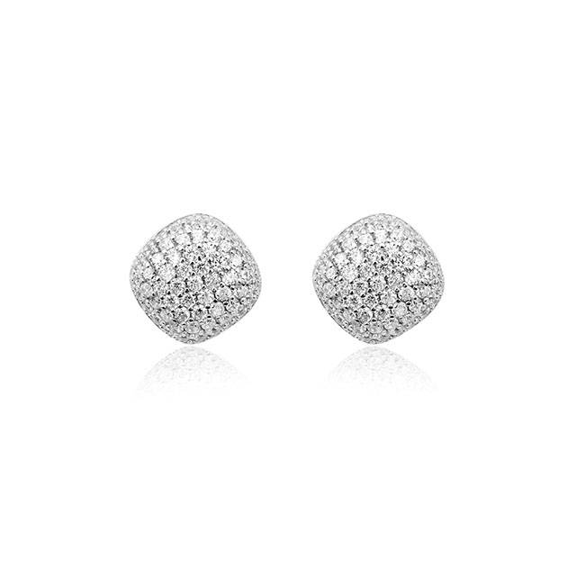 Silver earrings pave set with zirconia's