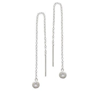Silver pullthrough earrings with zirconia