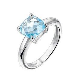 Zilveren ring topaas lichtblauw